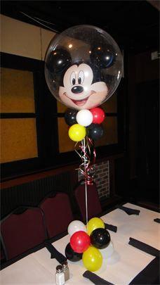 Mickey Mouse de la pieza central de la burbuja del globo con la base del globo - Globos de Long Island
