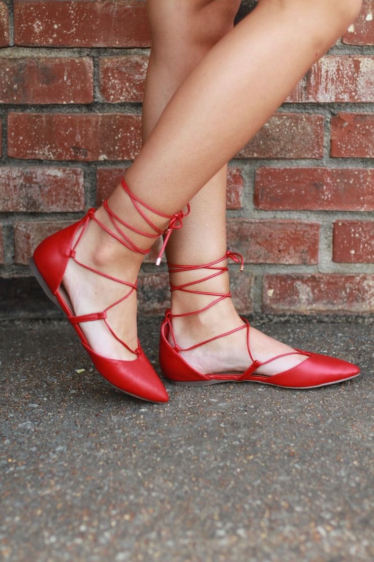 Red Lace Up Flats -Shoes that are sure to turn heads! Find this and so much more at Eula Fern's Boutique! #shoegamestrong #shoes #womensfashion