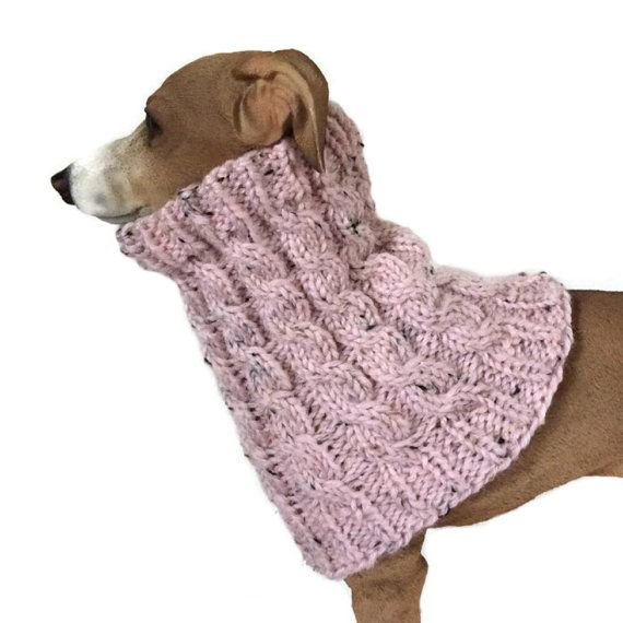 Pink Alpaca mix Greyhound Snood lurcher cowl whippet neckwarmer dog scarves puppy scarf dog snood dog muffler dog clothes, dog clothing, pet
