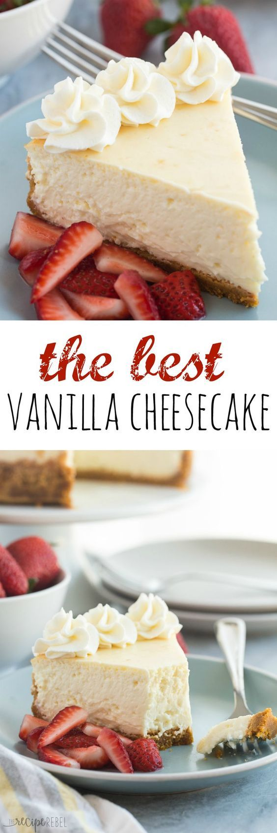 This Vanilla Cheesecake is super creamy and not as heavy as traditional baked cheesecake thanks to a good dose of sour cream or Greek yogurt — it's soft and luscious and perfect with fresh berries!