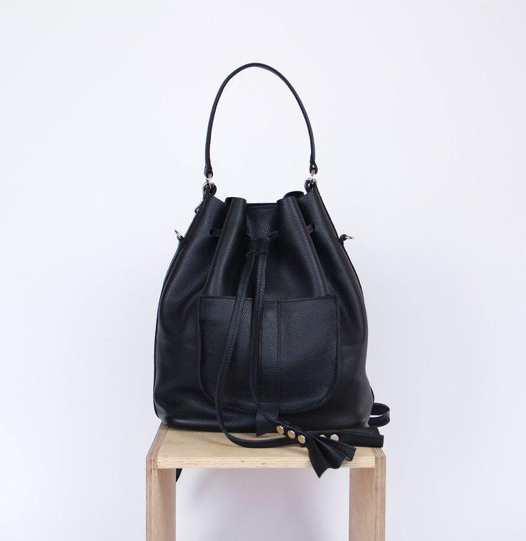 Black leather bucket bag   bucket bag   leather bucket bag   leather backpack   leather purse   for her   navy blue leather   gift   Black