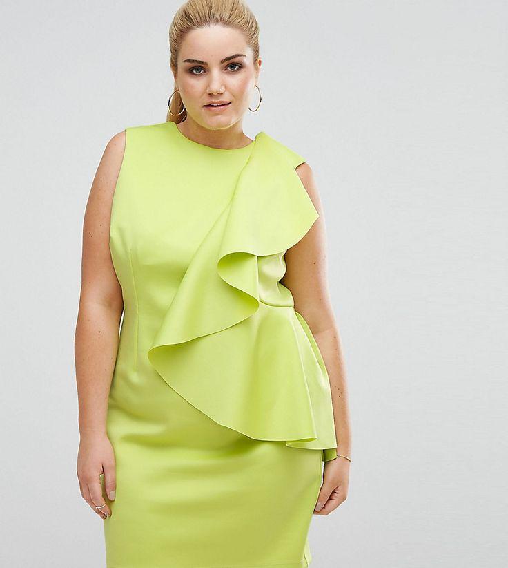 ASOS CURVE Mini Dress with Structured Scuba Ruffle - Green