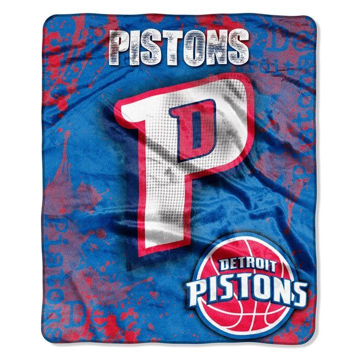 Detroit Pistons NBA Dropdown Raschel Throw.  Visit SportsFansPlus.com for Details.