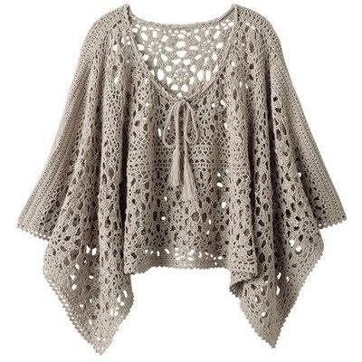 poncho - pattern is only by diagram + lien vers site de vente de laine à prix très réduit