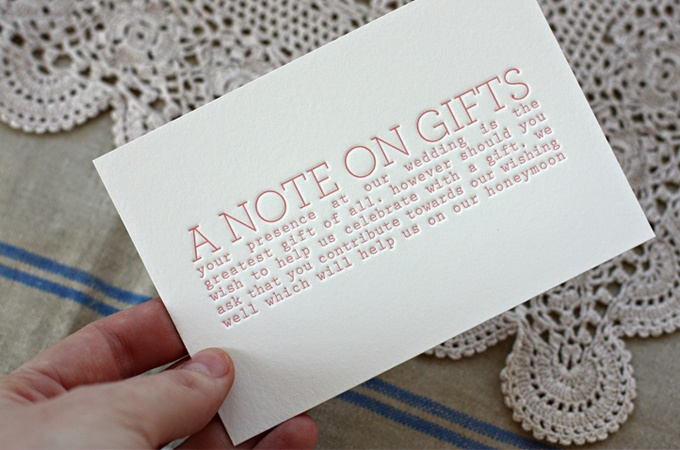 Wording For Wedding Gifts: Cute Wording For Those That Would Have To Ship Wedding