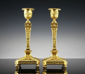 Paar Bronze Kerzenleuchter Frankreich 1840 feuervergoldet Empire Klassizismus     | eBay