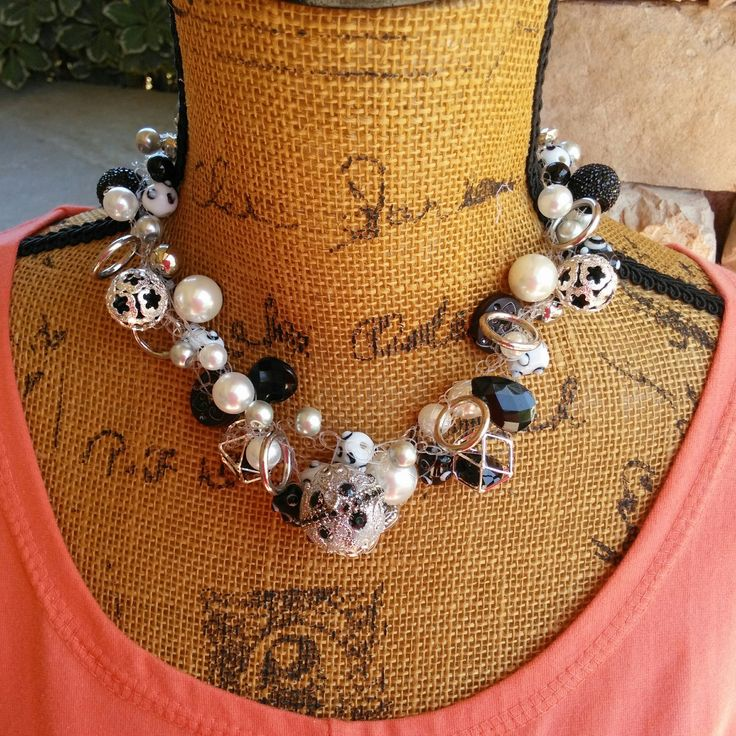 Please Pin if you like this new design! 👏👏👏  FALL Sale!  Check out my 20% OFF Sale!!!! Use Code: FALL20  Black & White Bridal Crocheted Handmade Statement Necklace, Multi-Strand Statement Necklace