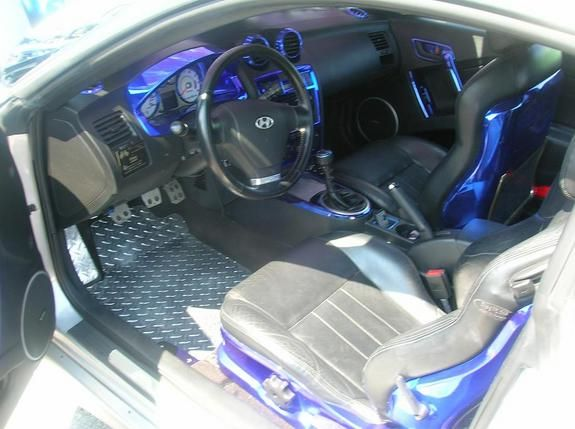 2003 Hyundai Tiburon Custom Interior Black Blue Chrome
