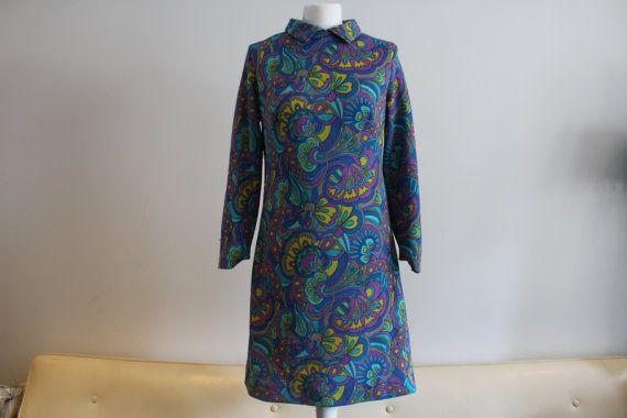 Vintage 1960's Blue, Yellow & Purple Collar Shift Dress (Size 12 (UK))