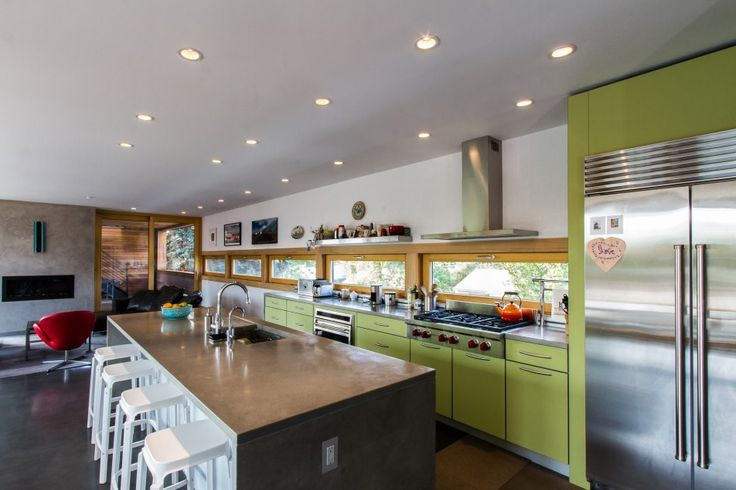 Kitchen, Modern Kitchen Furniture Cool Ceiling Kitchen Lighting Over Long Square Kitchen Island With Green Kitchen Cabinetry Set As Modern Kitchen With Seating And Countertops And : Awesome Uniquely Kitchen Cabinet Styles