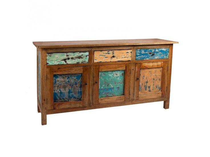 Cómoda versátil con tres puertas y tres cajones en madera mahogani #mueble #mueblerustico #shabby #shabbychic #furniture #classicfurniture