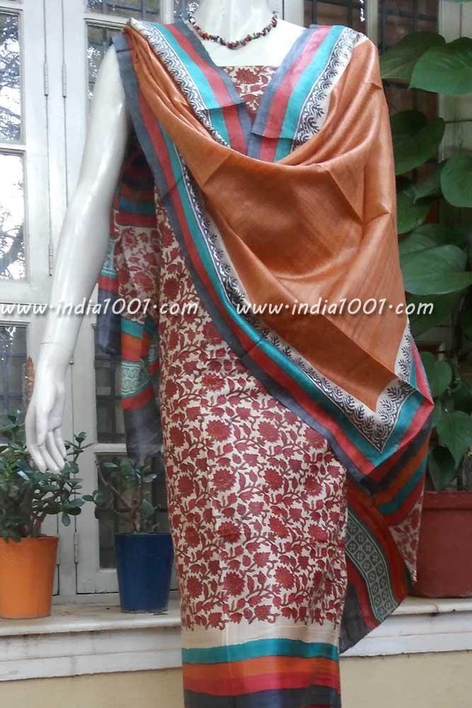 Elegant Tussar Silk unstitched suit fabric with Tussar Silk Salwar