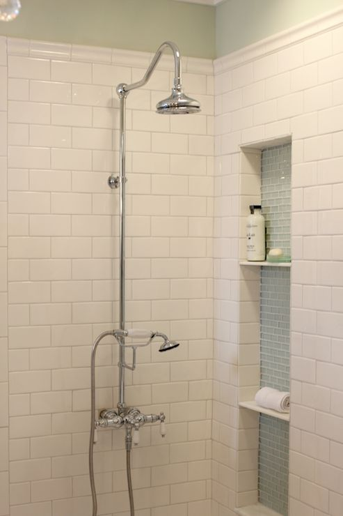 Like The Subway Tile With The Glass Tile For The Cut Out Golden Boys And Me Master Bathroom With Pedestal Tub White Subway Tile Carrera With Sources