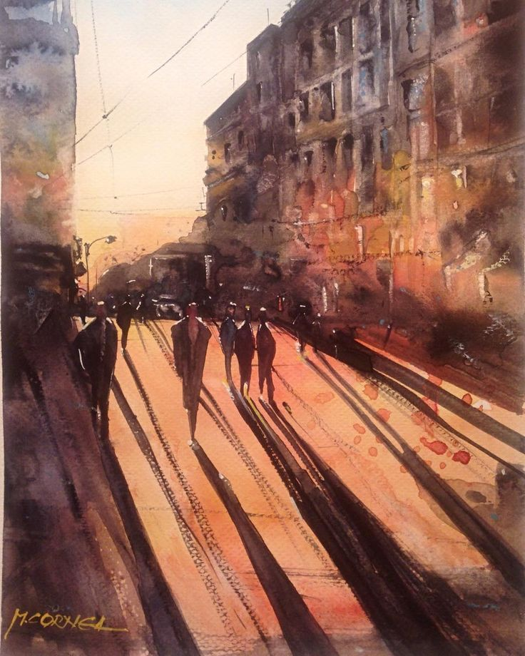 Sunrise watercolor painting by Maria Cornea