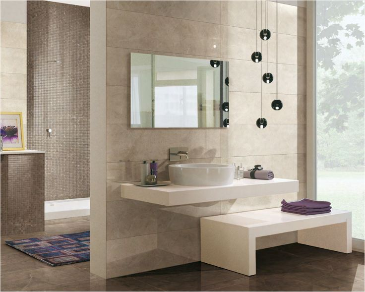 """Floor Pulpis Bronze Prelucidato 120x60.48""""x24"""" / Wall Cremo Supremo Prelucidato 120x30.48""""x12"""" / Mosaico Pulpis Bronze 30x30.12""""x12"""""""