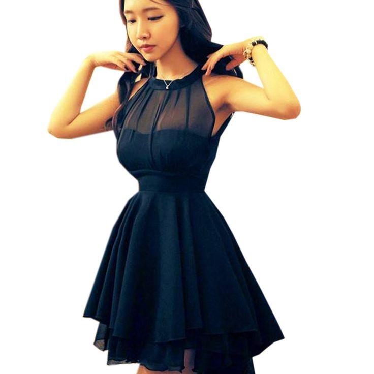 Mode chic robe de mousseline de soie de la robe d'été de dames sans manches asymétrique robe courte de soirée sans bretelles de partie de robe de cocktail col rond coupe-jupe évasée