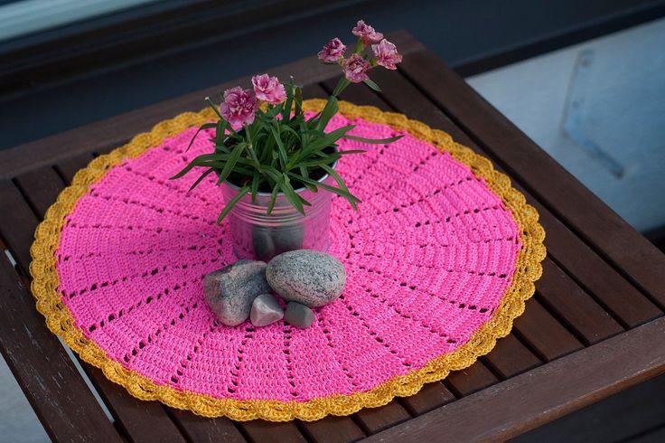 Crochet tablecloth.