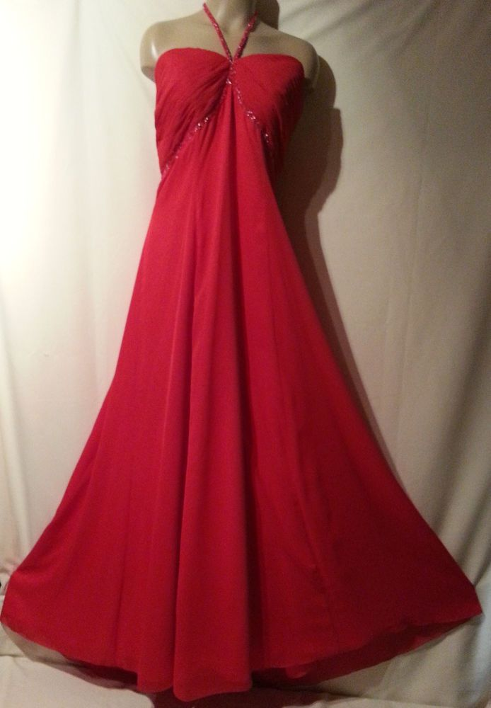 836e73598bf WOMENS LINZI JAY HALTER NECK DRESS JEWEL BEADED SEQUIN LONG MAXI FLARE SZ 18  RED  fashion  clothing  shoes  accessories  womensclothing  dresses (ebay  link)