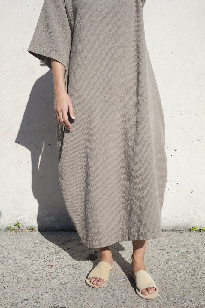 Black Crane Quilted Box Dress in Cement | Oroboro Store | Brooklyn, New York