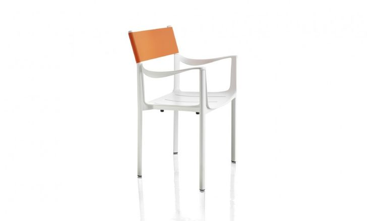 "Stacking chair with arms.  Material: seat and arms in die-cast aluminium polished or painted in polyester powder. Legs in aluminium. Back in thermoplastic rubber or leather. Seat cushion also available. Cover in fabric (Kvadrat ""Scuba"") suitable for outdoor use or in leather. Versions for outdoor use available."