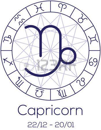 Signo del zodiaco - Capricornio. Símbolo astrológico en la rueda con el fondo poligonal. Carta de la astrología en el color azul profundo con título y fecha de nacimiento. Ilustración del vector.