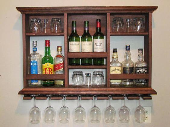 Mini-Bar, armario de 3 x 2 rojo caoba mancha de licor