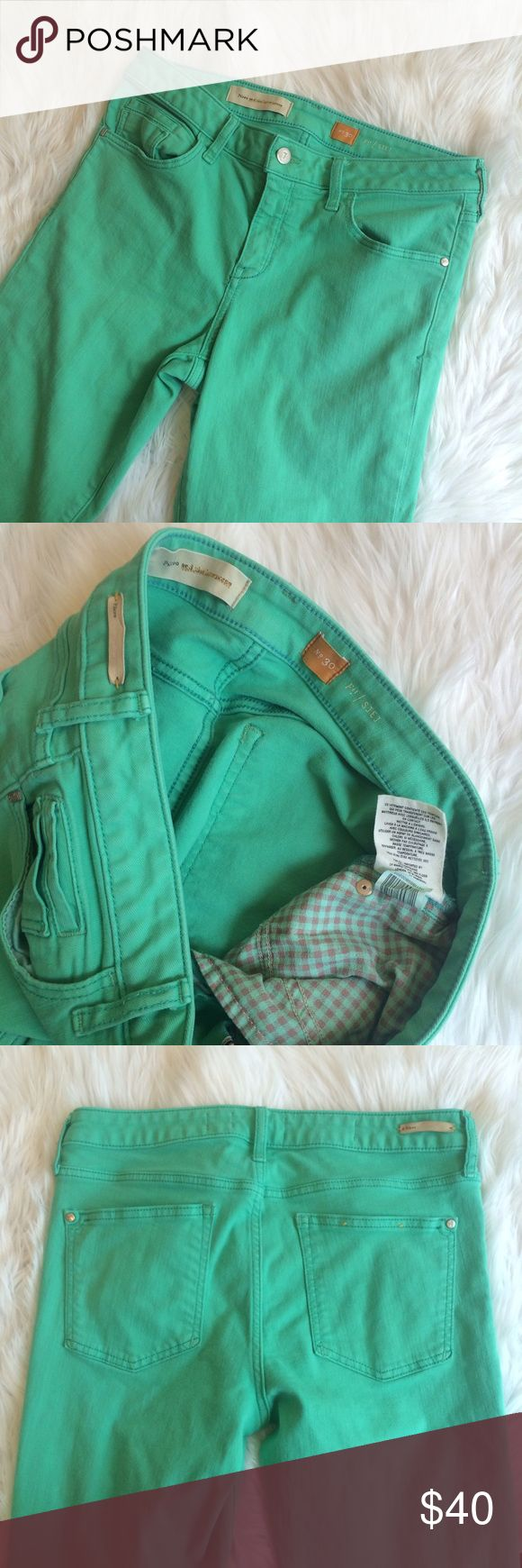 "💚💚 PILCRO AQUA JEANS Blue green color. EUC. 92% cotton 7% polyester 1% spandex. 15.75"" waist 34"" length 25"" inseam   **bundles save 10%** no trades/no modeling/no asking for lowest Anthropologie Jeans Skinny"