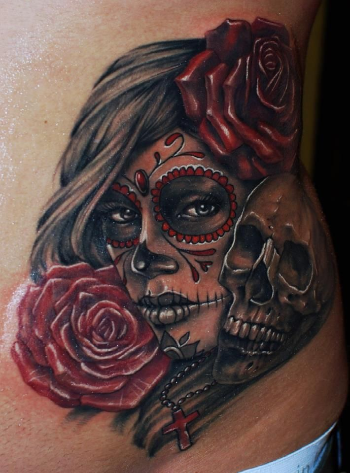Another colour Muerte girl from the one and only colour master that is Ivan Bor 2 sessions on this one at hammersmith tattoo!!
