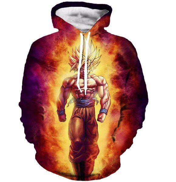 SSJ2 Son Goku Super Saiyan 2 Flame Fire 3D Cool Hoodie - Saiyan Stuff