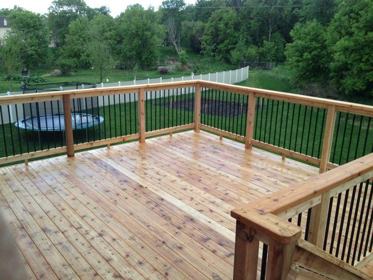 Cedar deck with aluminum spindles   Deck   Pinterest   Terrasser