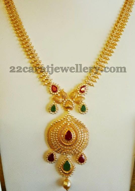 Jewellery Designs: Leafy Work CZ Fancy Haram