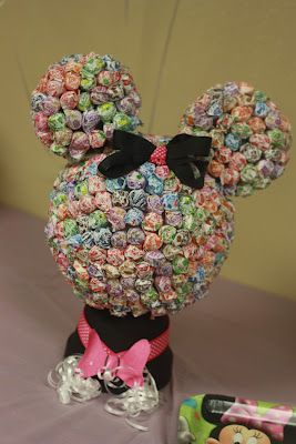 Minnie Mouse birthday decoration and candy display on dessert table- hot glue