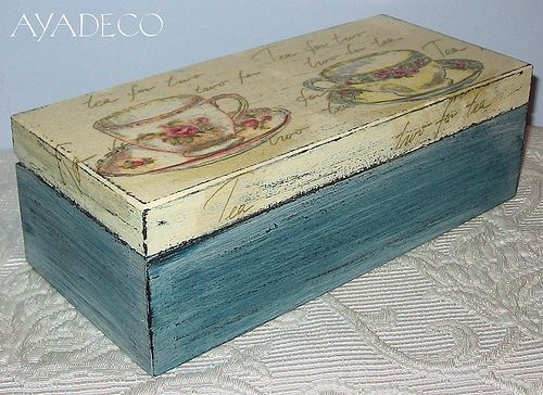 Tea Time Box - decoupage // I've got that same napkin :)