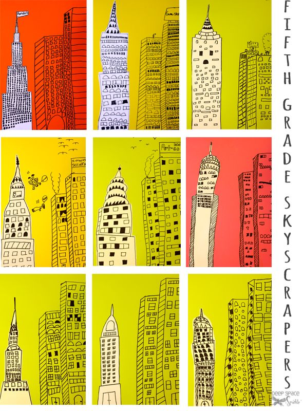 After drawing the skyscrapers on colored paper, I handed out sheets of 12″ x 9″ sulphite paper so the student could draw a final building. They cut the building from the white paper and glued to the colored paper. Stunning results!