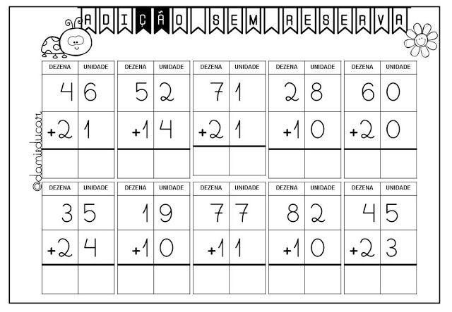 Adicao Simples Sem Reserva Adicao E Subtracao Matematica