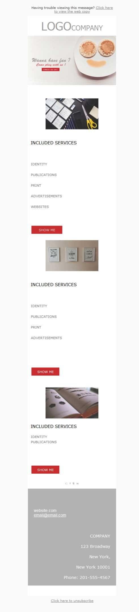 Versión responsive de plantillas newsletter para diseño gráfico y diseñadores creativos. Haz que todos conozcan tu portfolio con el emailing.