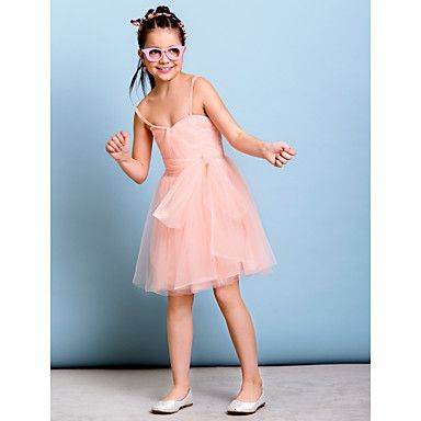 Knee-length Tulle Junior Bridesmaid Dress - Pearl Pink A-line Spaghetti Straps – GBP £ 51.09