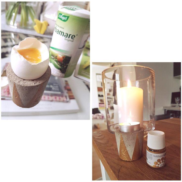 Äggkopp - ljushållare Betong och guld