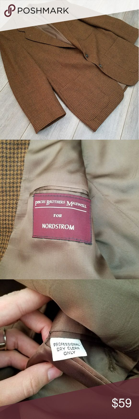 """Nordstrom tailored vintage blazer Vintage blazer! Very fun pattern in a simple tan/ brown color variety.  Dimensions Length 30.5"""" Chest 46"""" Sleeve 23"""" Shoulder 19.5"""" Waist 22.5"""" Nordstrom Suits & Blazers Sport Coats & Blazers"""