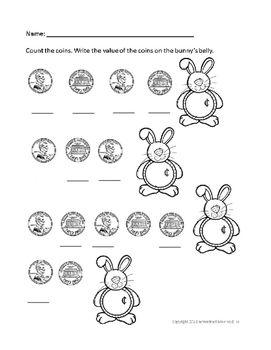 April and Bunny themed Money Math Practice by Wedded Mommy Bliss | Teachers Pay Teachers