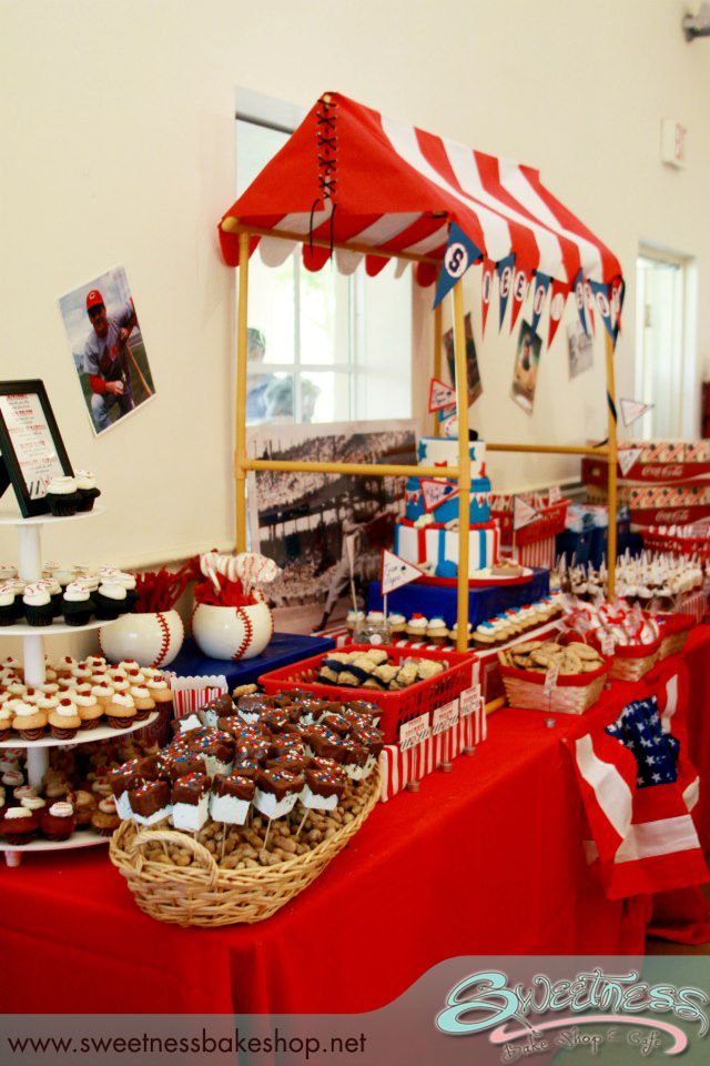 vintage baseball themed baby shower styled by sweetness bakeshop in miami fl