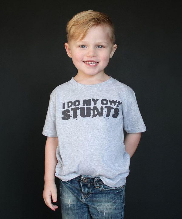 Look at this The Talking Shirt Gray 'I Do My Own Stunts' Tee - Kids on #zulily today!