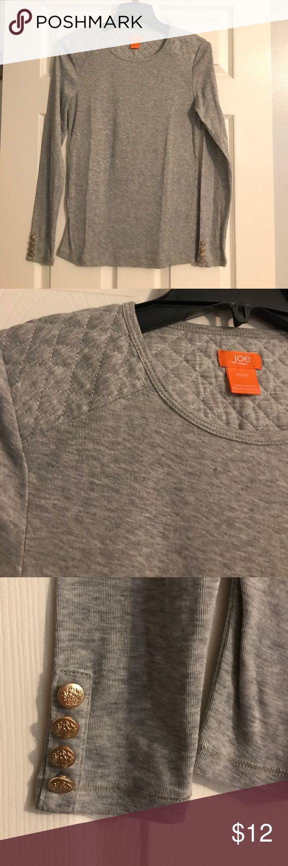 Joe Fresh grey long sleeve top Quilted shoulder detailing with gold buttons on the sleeves. Size medium. Excellent condition. Joe Fresh Tops Tees - Long Sleeve