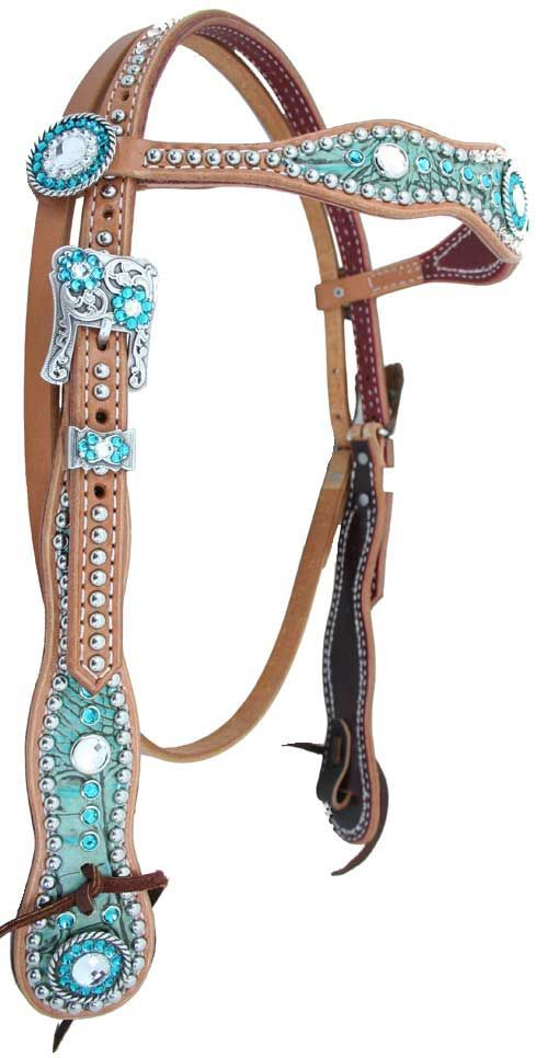 Beautiful horse tack | This turquoise headstall is accented with rhinestones, giving it just enough bling.: