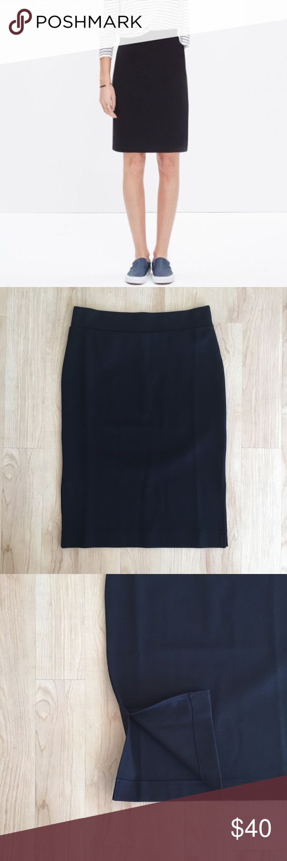 "NWT Column Side Slit Black Stretch Skirt Brand new with tags. No flaws. Black stretch skirt with 6.5"" side slits. Knee length. Size small - see pics for measurements. Madewell Skirts Pencil"