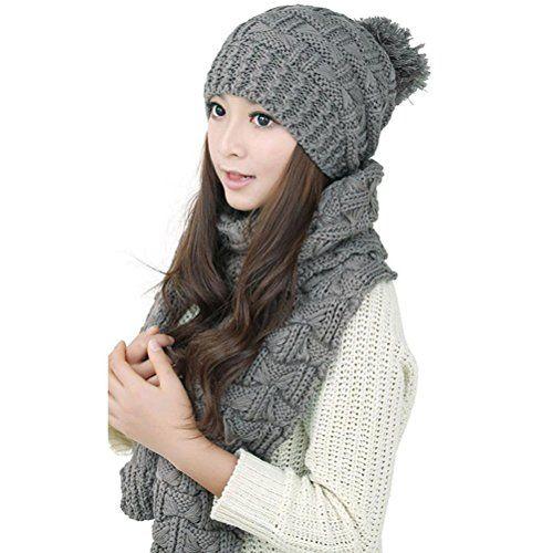 FENICAL Frauen Mädchen Winter gestrickter Schal und Hut gesetzt (grau)