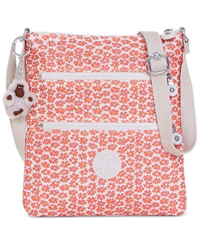 """Kipling Womens Keiko Floral Print Crossbody North South Handbag Orange Small:   Petite yet practical. Featuring a slim profile and adjustable strap, this lightweight crossbody tackles your busiest days in signature Kipling style. Adjustable crossbody strap with 12""""-24"""" drop Top zip closure Exterior features silver-tone hardware and 2 zip pockets Interior features 1 zip pocket 8"""" W x 9"""" H x 1/2"""" D Silhouette is based off 5'9"""" model Nylon Imported"""