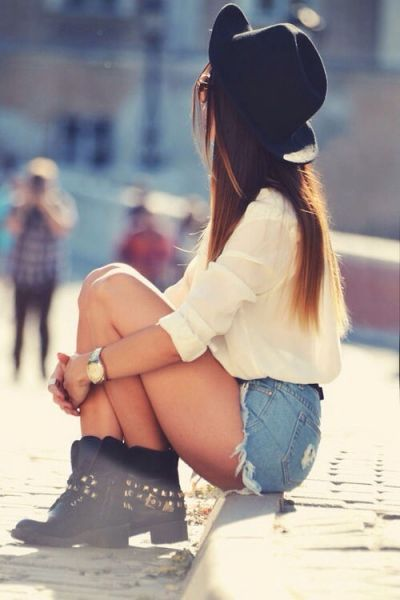 shorts, boots and hat