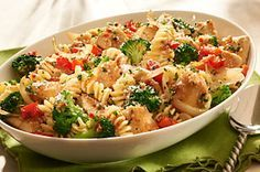 Zesty Chicken and Pasta recipe - Kraft Mag Winter 2008 pg 53. Broccoli florets, red pepper, onion, fresh parsley, parmesan cheese, chicken breasts, Italian dressing, pasta.