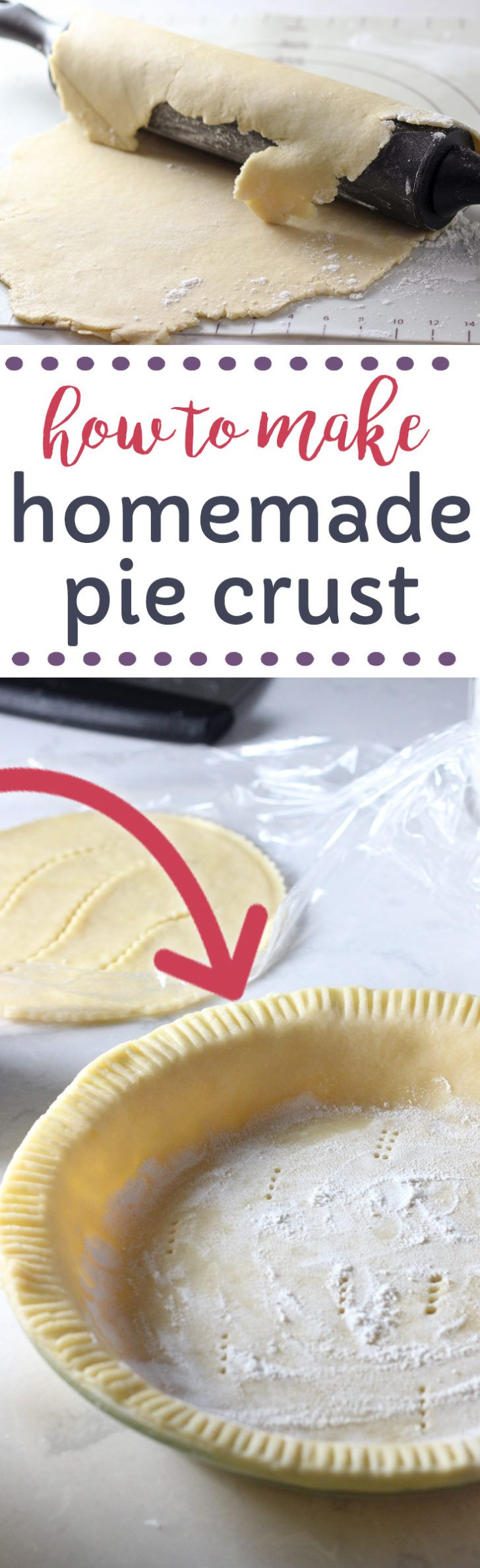The Best Homemade Pie Crust Recipe! Made with Crisco shortening, vinegar, eggs, flour and salt. This is my grandma's recipe and it's been handed down which means it is so easy to make with my step by step tutorial.  This homemade recipe will insure you never buy store-bought again!